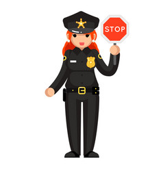 Female police officer stop sign policeman woman vector