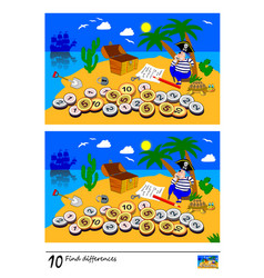 find 10 differences logic puzzle game vector image