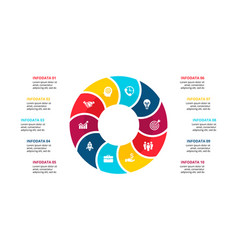 flat circle element for infographic with 10 vector image