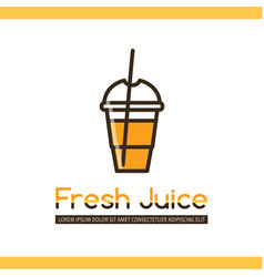 Food logotype with juice in disposable cup vector