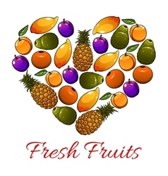 Fruits heart shape fresh fruits icons vector image vector image