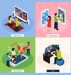 Gamers isometric design concept vector