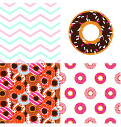 Glazed donuts patterns set cute sweet doughnuts vector