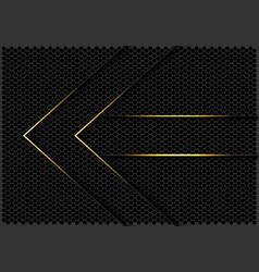 Gold lines arrow direction grey hexagon mesh vector