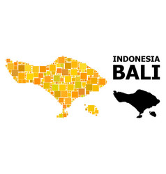 Gold square mosaic map bali island vector