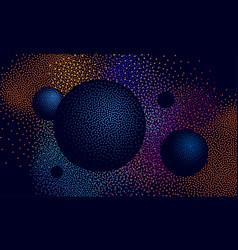 halftone 3d space landscape vector image