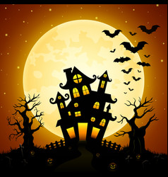 Halloween night background with castle bats tree vector