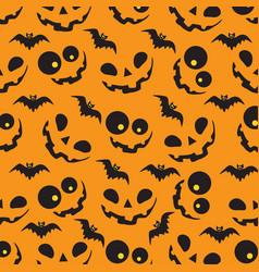 Halloween pattern with orange pumpkins and bats vector