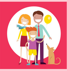 Happy family members parents their son and a dog vector