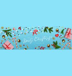 horizontal christmas banner blue background vector image