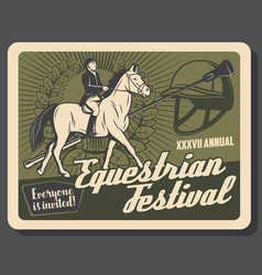 horse riding sport retro banner with equestrian vector image