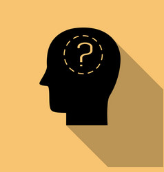Human head and question mark with long shadow vector