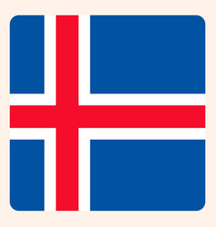 Iceland square flag button social media vector