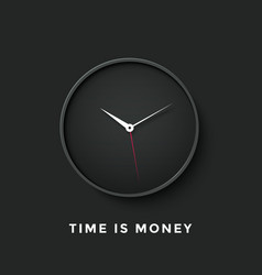 icon black clock face with shadow and message vector image