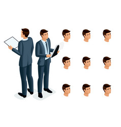 isometric icons womans emotions 3d body vector image