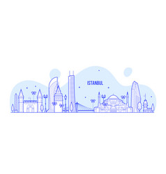 istanbul skyline turkey city buildings line vector image