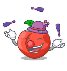 Juggling fruit of nectarine isolated on mascot vector