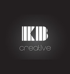 Kb k b letter logo design with white and black vector