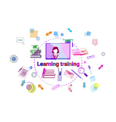 Learning training courses banner online education vector
