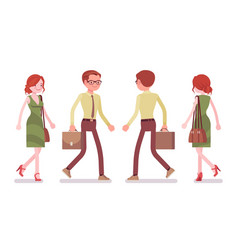 male and female clerk walking vector image