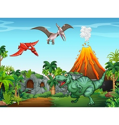 Many dinosaurs in the field vector