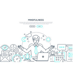 Mindfulness - modern line design style web banner vector
