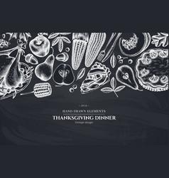 monochrome design with chalk pumpkin fork knife vector image