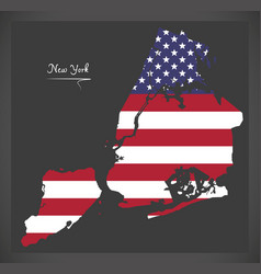 new york city map with american national flag vector image