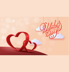 paper art of happy valentines day vector image