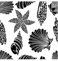 Pattern of the seashells silhouettes vector