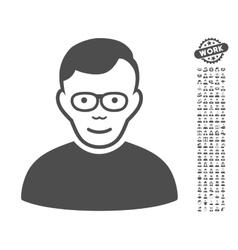 Pensioner Icon With Bonus vector