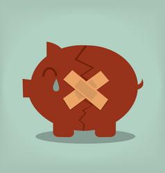 Piggy bank economic depression vector