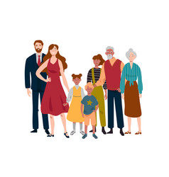 portrait large family mother father children vector image