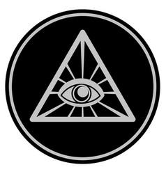 Pyramid eye black coin vector