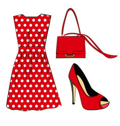 Romantic red polka dots dress shoe and handbag vector