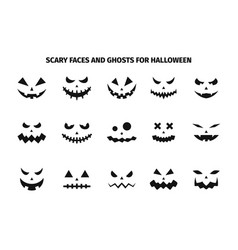 scary faces and ghosts for halloween vector image