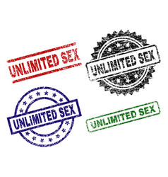Scratched textured unlimited sex stamp seals vector