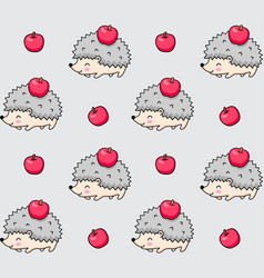 Seamless pattern of spiky hedgehogs with red vector