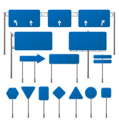 set blank blue road signs vector image