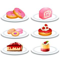 Set of dessert on plate vector