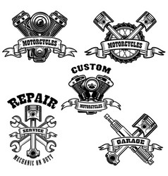 set of motorcycle repair emblems motor tools vector image