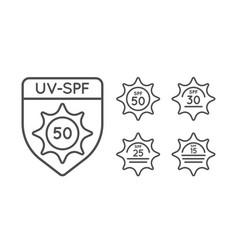 Set of sun protection uv index spf 50 spf 30 25 vector