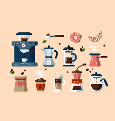 set various coffee machines and tools vector image
