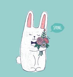 Sketch original of cute winter rabbit vector