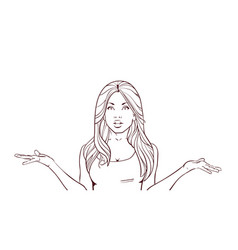 sketch portrait of confused woman over white vector image