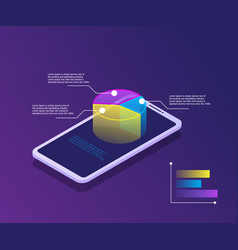 smartphone with graph on screen business and vector image