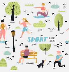 Summer outdoor sports activities seamless pattern vector