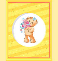 teddy girl with bouquet spring flowers in frame vector image