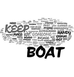 Ten items you should keep on your boat text vector