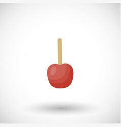 Toffee apple or red candy apple flat icon vector
